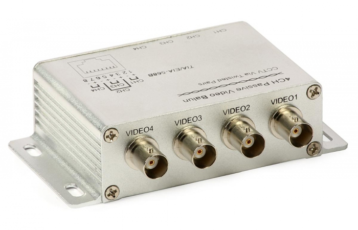 4-channel Passive Video Balun Etrix 4 VP